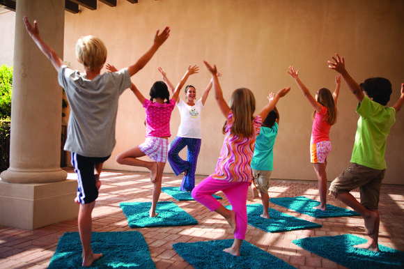 Laguna Beach local Sam Breit Schroeder teaches her Mindful Octopus class, a mix of storytelling, yoga and art at Camp Pelican at the Resort at Pelican Hill.