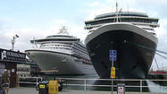 SAN DIEGO -- Three cruise ships carrying a total of 6,300 tourists arrived in San Diego Thursday, giving a boost to the local tourism industry.