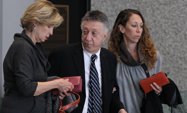 "William Cellini arrives at the Dirksen U.S. Courthouse in Chicago today for sentencing. Cellini was convicted of conspiring to commit extortion and aiding and abetting solicitation of a bribe from Thomas Rosenberg, the Oscar-winning producer of the film ""Million-Dollar Baby."""