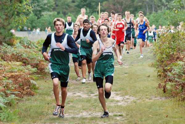 Boyne Falls' Marcus Matelski (left) and Kory Skop finished first and second in 18 minutes, 51 seconds and 19:12, respectively, as the Loggers won a Northern Lakes Conference jamboree Wednesday in Mackinaw City.