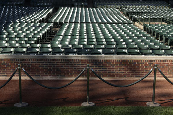 The brick wall behind home plate is shown Thursday at Wrigley Field.