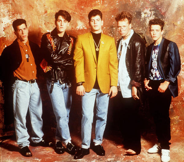 "New Kids on the Block (Danny Wood, left, Jonathan Knight, Jordan Knight, Donnie Wahlberg and Joey McIntyre), were top stars in 1990. Their authorized biography, ""New Kids on the Block: Five Brothers and a Million Sisters,"" by Nikki Van Noy, was published Oct. 2."