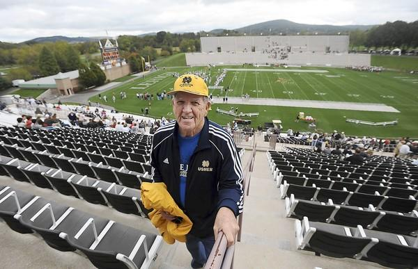 Tom Ortwein, who is a 82-year-old Bethlehem native at the Fordham vs. Lehigh football game Saturday afternoon. Tom has been an usher for the 14 years at the University of Notre dame home games.