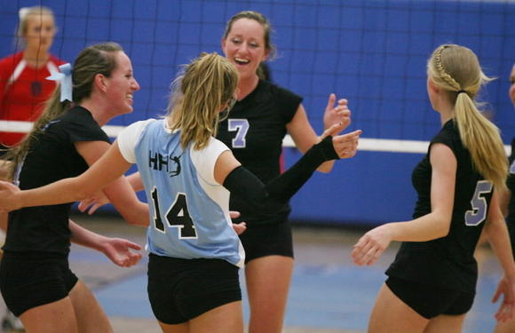 Hagerty players celebrate after a point in a 3-1 win against Lake Brantley on Thursday. (Stephen M. Dowell/Orlando Sentinel)