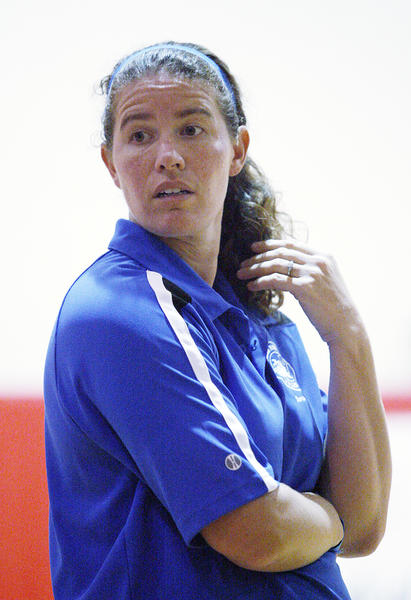 Burbank head coach Sarah Brown between games against Burroughs in a rival Pacific League girls volleyball match at Burroughs High School in Burbank on Thursday, October 4, 2012.