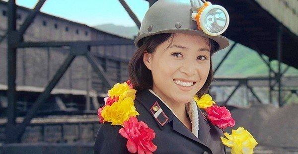 "Comrade Kim Yong Mi played by Han Jong Sim in ""Comrade Kim Goes Flying."""