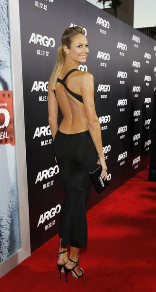 "Stacy Keibler walks the red carpet at the ""Argo"" movie premiere on Oct. 4, 2012."