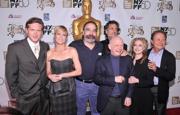 "Cary Elwes, from left, Robin Wright, Mandy Patinkin, Chris Sarandon, rear, Wallace Shawn, Carol Kane and Billy Crystal appear at a 25th anniversary screening of ""The Princess Bride."""