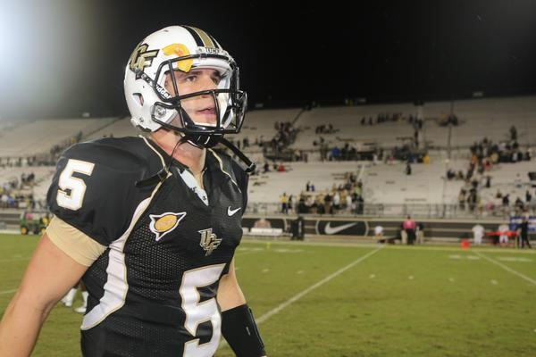 Quarterback Blake Bortles, #5 of UCF leaves the field after wining the game vs. East Carolina at Bright House Networks Stadium, Thursday, October 4, 2012.