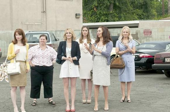 "<i>By Emily Christianson, Whitney Friedlander and Yvonne Villarreal</i><br> <br> In ""Bridesmaids,"" Kristen Wiig stars as Annie, a down-on-her-luck maid-of-honor forced to keep up with the party-planning skills of her best friend Lillian's (Maya Rudolph) new pal Helen (Rose Byrne). As the women try to one-up each other, the claws come out and the wedding starts heading straight for disaster.<br> <br> But it isn't as if Annie and Helen were starting a new tradition. Sabotaged weddings are a classic plot device. Here's how romantic comedy heroines (and a few heroes) ruined weddings.<br> <br> <i>From left: Ellie Kemper, Melissa McCarthy, Kristen Wiig, Rose Byrne, Maya Rudolph and Wendi McLendon-Covey in ""Bridesmaids."" </i>"