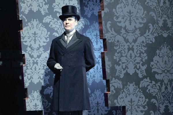"The multiple roles Jefferson Mays plays in the new musical at Hartford Stage, ""A Gentleman's Guide to Love and Murder""  include banker Lord Asquith D'Ysquith Sr."