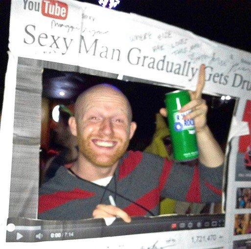 "At parents weekend at college, Chris Erskine met a guy named Michael who inserted himself in his YouTube mock-up headlined ""Sexy Man Gradually Gets Drunk."""