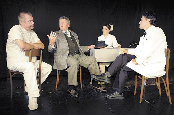 In the Washington County Playhouse production of Harvey are left to right Tom Doty as Wilson, Jeff Czerbinski as Elwwod P Dowd, Amie Tweit as Nurse Kelly, and Seth Thimpson as Dr Sanderson.