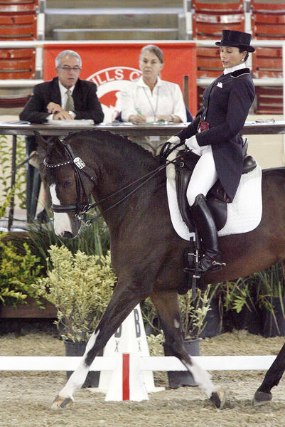 Michele Cooper, of Rancho Santa Fe, CA, rides Highlight passed judges at the beginning of her dressage routine at the California Dressage Society's Annual Championship Dressage Show at the Los Angeles Equestrian Center in Burbank on Friday, October 5, 2012.