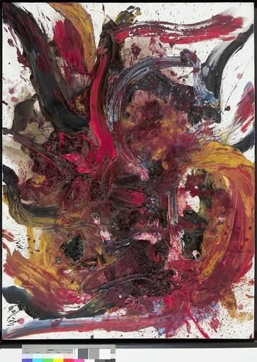 "Kazuo Shiraga's "" Work BB45,"" 1962 oil on canvas."