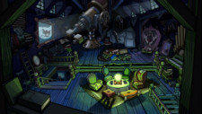 A spooky crystal ball offers a frightful scene in the attic of the haunted mansion in Club Penguin