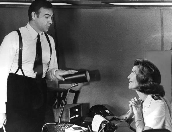 Pictures: 50 years of James Bond movies: You Only Live Twice (1967) Bond, oozing charm, and Miss Moneypenny (played by Lois Maxwell) take in a little office banter.