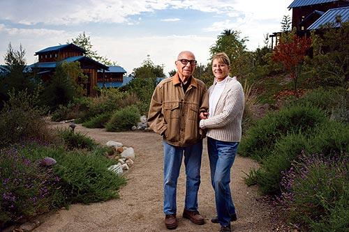 Sam and Beverly Maloof at the Maloof Foundation gardens.