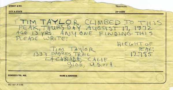 The note that La Canada Flintridge teenager Tim Taylor left near Milestone Peak in the high Sierra 40 years ago. Hiker Larry Wright found the note in a film canister near the top of the mountain in September 2012.