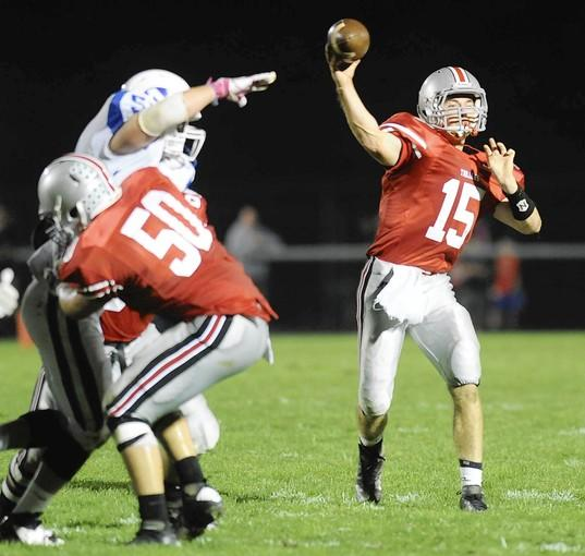 Parkland's #15 Tim Baranek passes the ball against Nazareth held at Orefield Middle School on Friday.