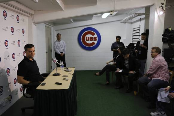 Theo Epstein finishes his news conference with reporters at Wrigley Field after Cubs season ended.