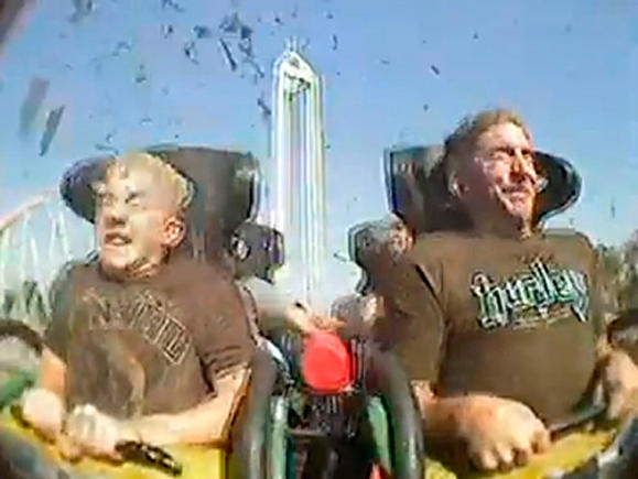 Kyle and Russell Wheeler shown in a still frame from the on-board ride video during the Xcelerator accident.