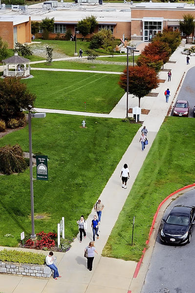 Students walk across campus at Hagerstown Community College on Thursday.