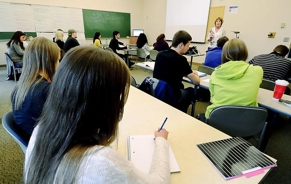 Louise Wine leads her class at Hagerstown Community College on Thursday.