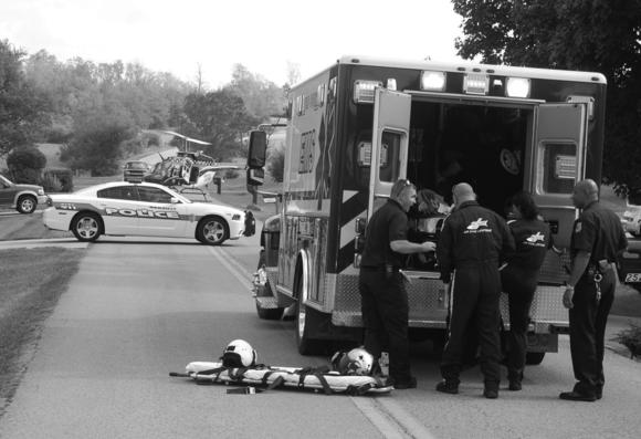 Authorities respond to the scene of a stabbing in Danville Ky. Friday afternoon.