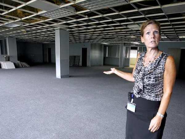 Glendale Police Dept.'s Sherry Servillo talks about the many areas the old Glendale Police Dept. building has, which will be opened for filming again, in Glendale.
