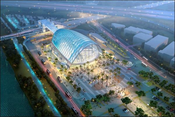 A rendering of the 67,000-square-foot Anaheim Regional Transportation Intermodal Center, or ARTIC, between Anaheim Stadium and the Honda Center. The $184-million project is estimated to be finished in 2014.