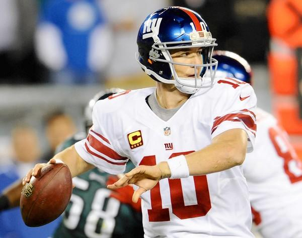 New York Giants quarterback Eli Manning (10) throws against the Philadelphia Eagles at Lincoln Financial Field in Philadelphia on Sunday September 30, 2012