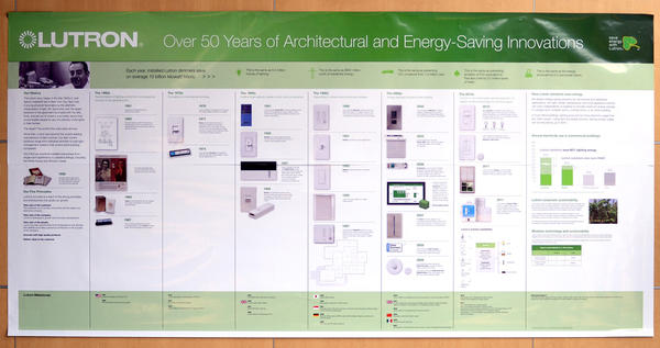 This is a Lutron Electronics timeline of product development that hangs in an office building on the Lutron Electronics campus.