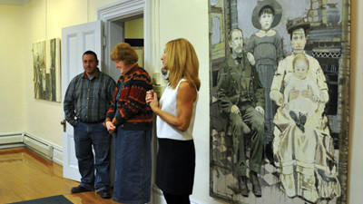 "Joyce Werwie Perry, an artist from Pittsburgh, explains that a lot of her work in the gallery is inspired by old photographs she finds or is given. ""Old photographs fascinate me,"" Werwie Perry said. ""I love looking through them whether I know the people or not."" Her work also exhibits a technique of using knifes instead of paintbrushes to manipulate the oil paint, which she developed."