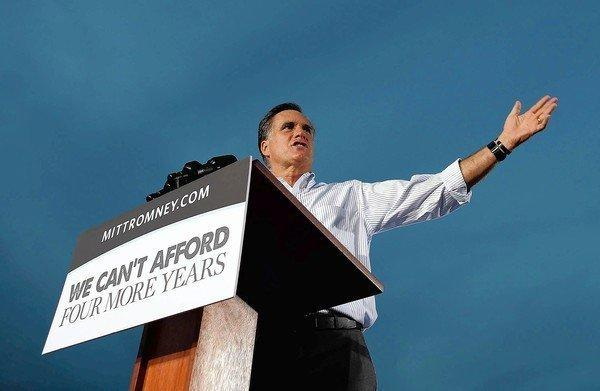 Republican presidential nominee Mitt Romney speaks in St. Petersburg during a three-day swing through Florida, a state critical to his election chances.