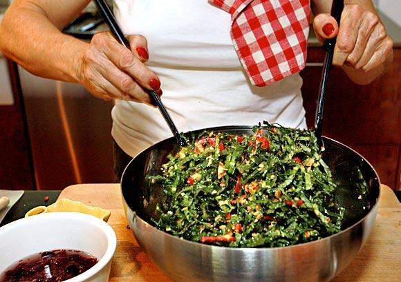 Kale salad with cranberries and walnuts
