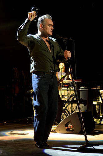 Morrissey took out maracas for his third song of the night, 'You're The One For Me, Fatty.'