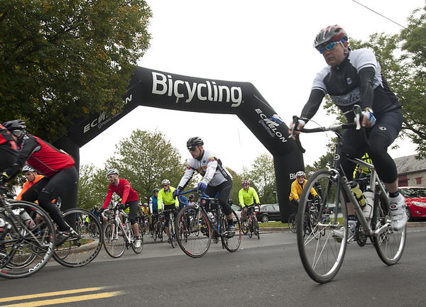Cyclists leave the starting line at the Valley Preferred Cycling Center in Breiningsville, for the 50 mile tour of the 2012 Bicycling Fall Classic on Sunday. The event's start and finish was at Valley Preferred.