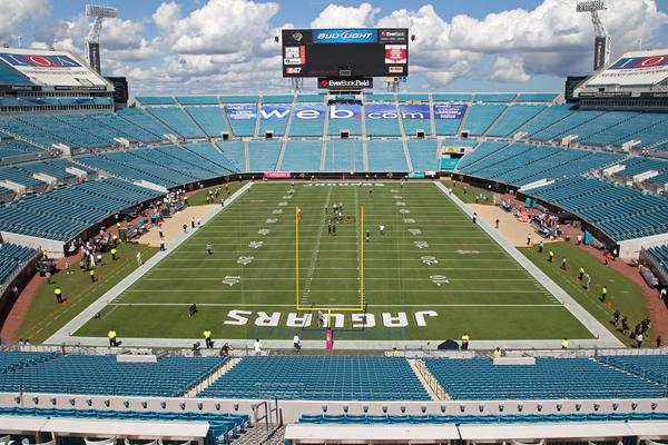 Everbank Field, in Jacksonville, Fla., is quiet in the hours before the Jacksonville Jaguars take on the Chicago Bears.