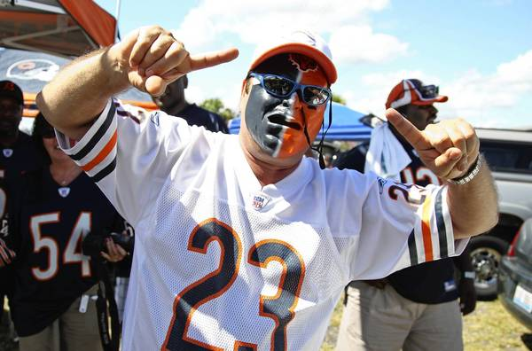 Greg Lamphear, of Clermont, Florida, cheers for the Bears before the start of the game between the Chicago Bears and the Jacksonville Jaguars in Jacksonville, Florida.