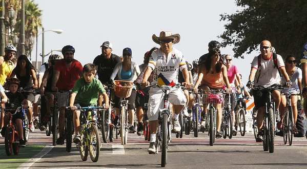 Cyclists pedal down Spring Street as thousands ride through downtown Los Angeles during CicLAvia.