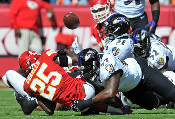Chiefs running back Jamaal Charles fumbles after getting hit by Ravens defensive end Arthur Jones.