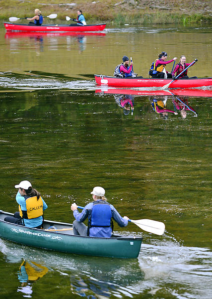 Competitors complete the paddle boat portion of the Buff Betty Woman's Only Adventure Race Sunday at Greenbrier State Park.