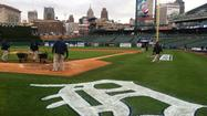 Tiger Fans Cheer Through The Cold At Comerica Park