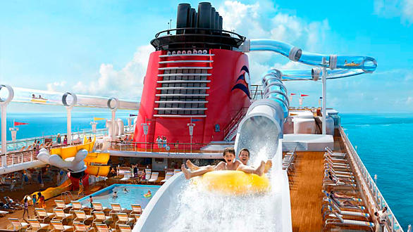 Aquaduck water coaster on the Disney Dream cruise ship.