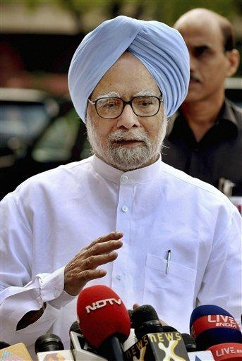 Indian Prime Minister Manmohan Singh speaks to the media on the last day of the Indian Parliament¿s monthlong session in New Delhi, India, Friday, Sept. 7, 2012. The latest session of India's often-raucous Parliament has been adjourned after weeks of shouting matches between the country's beleaguered government and the opposition. The session ended Friday with only four out of 30 slated bills passed.