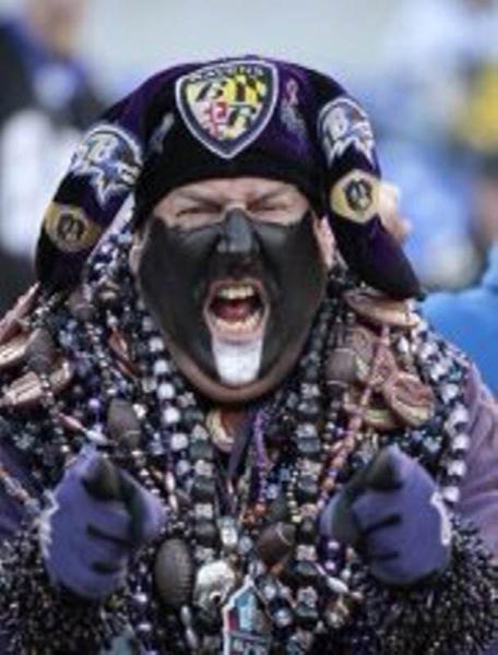 Ravens fan Steve LaPlancher, aka Sports Steve, in full game-day regalia.