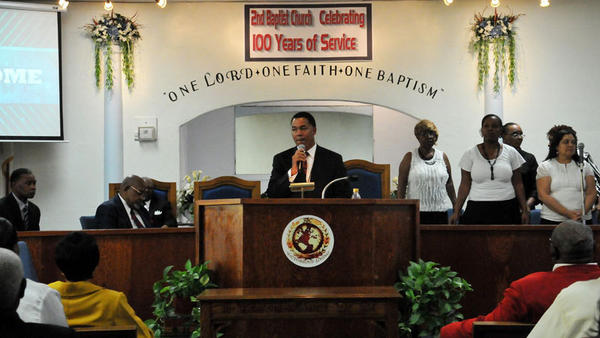 Pastor Mark Q. Anderson of the Second Baptist Church in El Centro speaks to his congregation during the 100th anniversary celebration held Sunday.