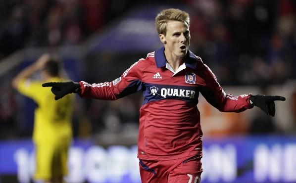 The Fire's Chris Rolfe celebrates a goal against the Columbus Crew at Toyota Park September 22, 2012.
