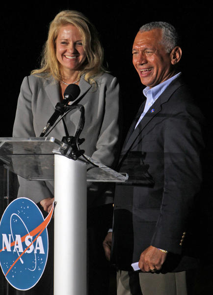 Gwynne Shotwell,left, President of SpaceX and Charles Bolden, NASA Administrator are all smiles after Falcon 9 rocket carrying a Dragon blasts on a historic launch from Cape Canaveral Air Force Station.